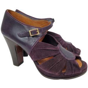 "Chie Mihara Retro 40s Purple Suede Ankle Strap Peep Toe 4"" Chunk Heel 10"